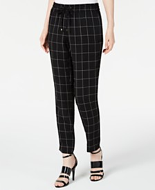Calvin Klein Petite Cropped Windowpane-Print Pants