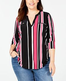 I.N.C. Plus Size Striped Zip-Pocket Top, Created for Macy's