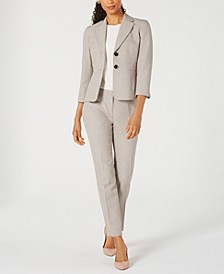 Two-Button Melange Jacket & Melange Straight-Leg Pants