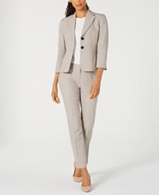 Kasper Two-Button Melange Jacket & Melange Straight-Leg Pants