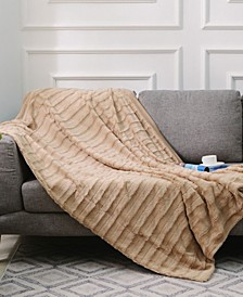 "Ultra Soft Faux Fur to Microplush 86"" x 86"" Reversible Cozy Warm Throw Blanket"