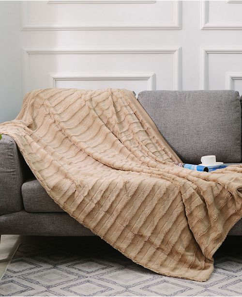 """Cheer Collection Ultra Soft Faux Fur to Microplush 86"""" x 86"""" Reversible Cozy Warm Throw Blanket"""