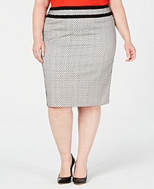Plus Size Piped-Trim Skirt