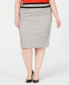 Calvin Klein Plus Size Piped-Trim Skirt