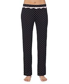 Betsey Johnson Lace-Trim Printed Pajama Pants