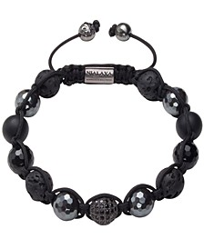Men's Beaded Bracelet with Black Cubic Zirconia Crystal, Lava Stone, Matte Onyx and Agate