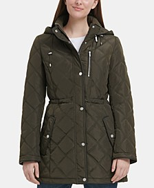 Quilted Faux-Leather-Trim Anorak Jacket