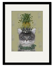 Courtside Market Cat, Pineapple Puss Framed and Matted Art