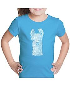 Girl's Word Art T-Shirt - Llama