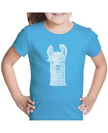 LA Pop Art Girl's Word Art T-Shirt - Llama