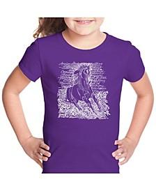 Girl's Word Art T-Shirt - Popular Horse Breeds
