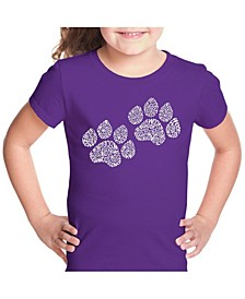 Girl's Word Art T-Shirt - Woof Paw Prints