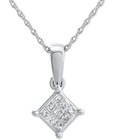 "Diamond Cluster 18"" Pendant Necklace (1/10 ct. t.w) in 14k White Gold"