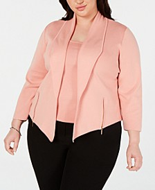 Plus Size Shawl-Collar Moto Cardigan