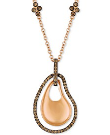 "Chocolate Diamond® 18"" Pendant Necklace (1/2 ct. t.w.) in 14k Rose Gold"