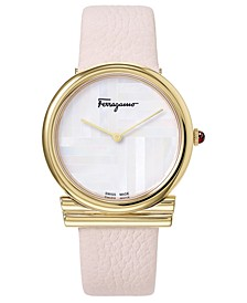 Women's Swiss Gancino Pink Leather Strap Watch 34mm