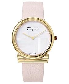Women's Swiss Gancino Pink Leather Strap Watch 34mm