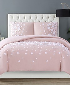 Christian Siriano Confetti Flowers 3 Piece Blush Full/Queen Duvet Cover Set