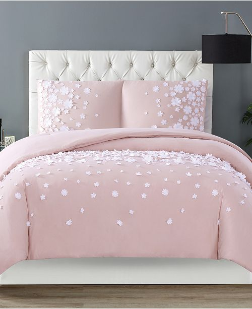Christian Siriano New York Christian Siriano Confetti Flowers 3 Piece Blush Full/Queen Duvet Cover Set