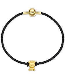 """Fortune Doggy"" Charm Bangle Bracelet in 24k Gold"