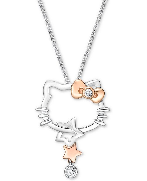 """Chow Tai Fook Diamond Hello Kitty 18"""" Pendant Necklace (1/10 ct t.w.) in 18k White Gold & Rose Gold"""