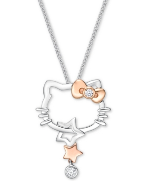 """Diamond Hello Kitty 18"""" Pendant Necklace (1/10 ct t.w.) in 18k White Gold & Rose Gold"""