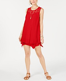 Petite Lace-Yoke Handkerchief-Hem A-Line Dress, Created for Macy's