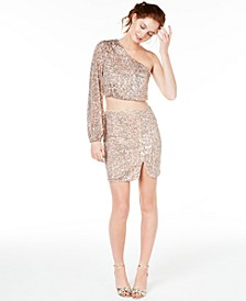 Juniors' 2-Pc. One-Shoulder Sequined Dress