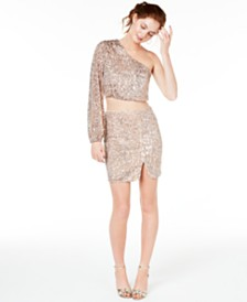City Studios Juniors' 2-Pc. One-Shoulder Sequined Dress