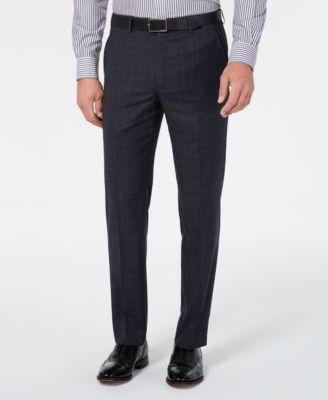 Men's Classic-Fit UltraFlex Stretch Gray/Blue Plaid Suit Separate Pants