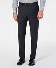Men's Classic-Fit UltraFlex Stretch Gray/Blue Plaid Suit Separate Pants