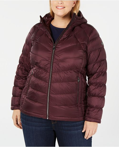 Michael Kors Plus Size Packable Hooded Puffer Coat, Created for Macy's