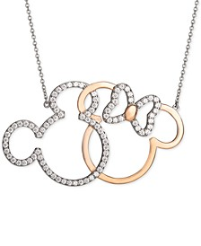 """Cubic Zirconia Mickey and Minnie 18"""" Pendant Necklace in Sterling Silver and 18k Gold-Plate Over Sterling Silver"""