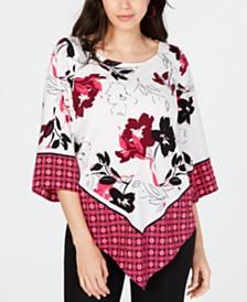 Alfani Mixed-Print V-Hem Top, Created for Macy's