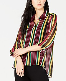 I.N.C. Petite Striped Shirt, Created for Macy's