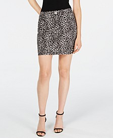 INC Leopard-Print Denim Mini Skirt, Created for Macy's