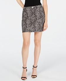 I.N.C. Leopard-Print Denim Mini Skirt, Created for Macy's