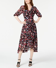 Calvin Klein Floral Chiffon Faux-Wrap Dress