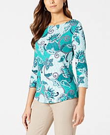Petite Pima Cotton Button-Shoulder Print Top, Created for Macy's