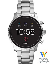 Men's Tech Explorist Gen 4 HR Stainless Steel Bracelet Touchscreen Smart Watch 45mm, Powered by Wear OS by Google™