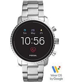 Fossil Men's Tech Explorist Gen 4 HR Stainless Steel Bracelet Touchscreen Smart Watch 45mm, Powered by Wear OS by Google™