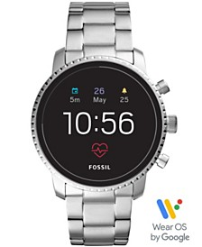 Fossil New Men's Tech Explorist Gen 4 HR Stainless Steel Bracelet Touchscreen Smart Watch 45mm, Powered by Wear OS by Google™