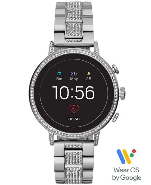 Fossil Women's Tech Venture Gen 4 HR Stainless Steel Bracelet Touchscreen Smart Watch 40mm, Powered by Wear OS by Google™