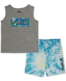 Toddler Boys 2-Pc. Graphic Tank & Tie-Dye Boardshort Set
