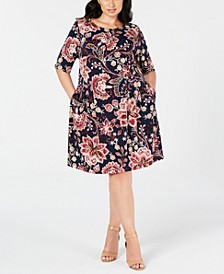 Trendy Plus Size Floral-Print Fit & Flare Dress