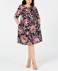 Connected Trendy Plus Size Floral-Print Fit & Flare Dress