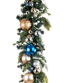 Village Lighting 9' Pre-Lit LED Garland - Celebration Ornament