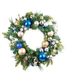 "Village Lighting 30"" Pre-Lit LED Wreath - Celebration Ornament"