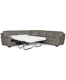Lothan 3-Pc. Leather Full Sleeper Sectional Sofa, Created for Macy's