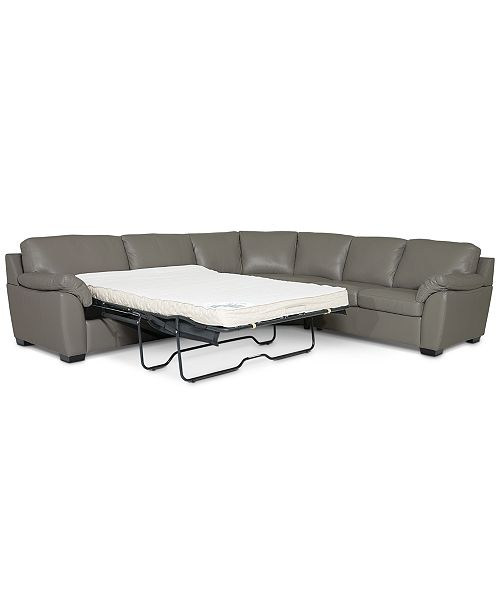 Lothan 3-Pc. Leather Full Sleeper Sectional Sofa, Created for Macy\'s